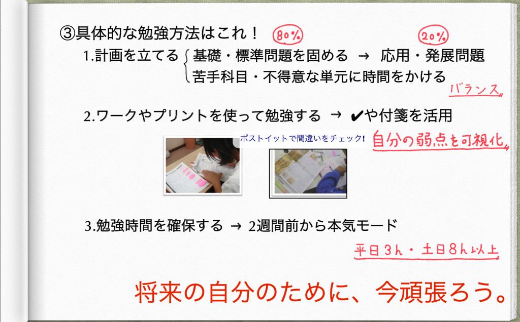 定期テスト勉強の目的(スライドNo.1)
