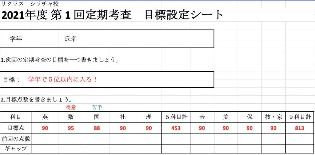 定期テスト目標設定シート